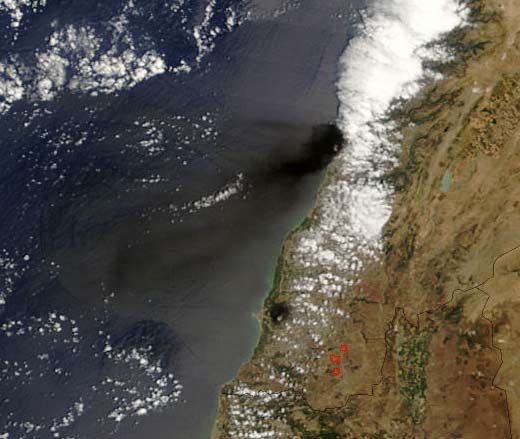 Lebanon - MODIS photo ca. July 14, 2006